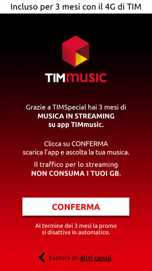 TIM Entertainmente m-site versione smartphone, una pagina interna