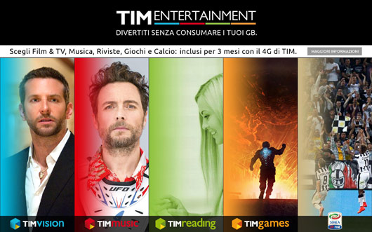 TIM Entertainmente m-site versione tablet, homepage base