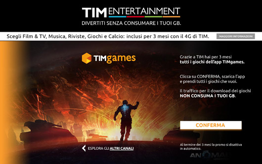 TIM Entertainmente m-site versione tablet, una pagina interna